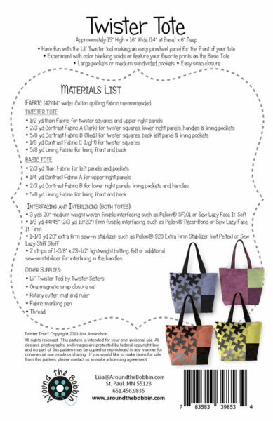 Twister Tote back cover